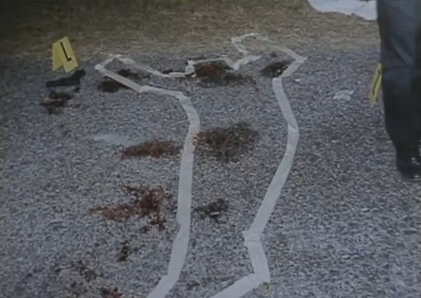 Outline where Deputy Dinkheller's body was found.