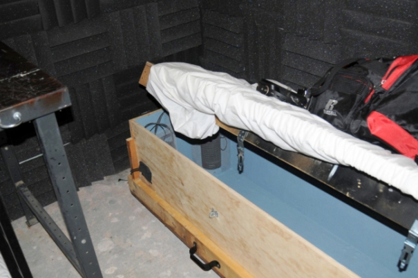 A child-sized coffin with locks was found in the soundproof cellar (Picture: Splash)
