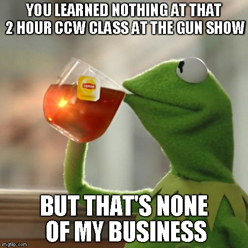 """Kermit says: """"You Learned Nothing at that 2 Hour Class at the Gun Show. But that's none of my business..."""""""